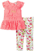 Juicy Couture Lace Tunic & Floral Printed Legging Set (Baby Girls 12-24M)