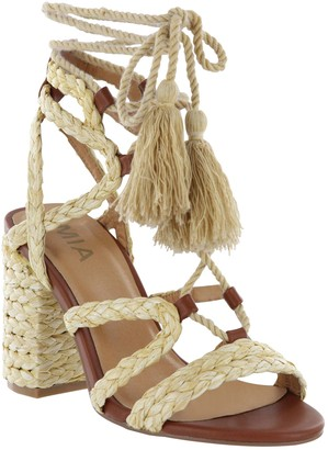 Mia Raffia Lace-Up Block Heel Sandals - Renita