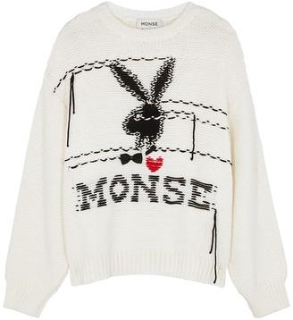Monse X Playboy Ivory Chunky-knit Wool Jumper