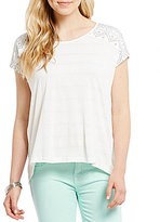Miss Me Embroidered Short Sleeve High Low Top