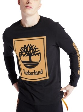 Timberland Men's Long Sleeve Stack Logo Tee