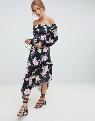 ASOS DESIGN off shoulder tea dress with shirred cuffs in floral print
