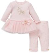 Little Me Infant Girls' Tulle Trimmed Dress & Leggings Set - Sizes 3-9 Months