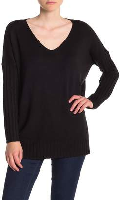 French Connection Ribbed Sleeve V-Neck Sweater