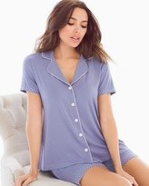 Soma Intimates Notch Collar Pajama Top Little Dot Blue Chill