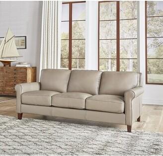 "Winston Porter Josette 86"" Genuine Leather Rolled Arm Sofa"