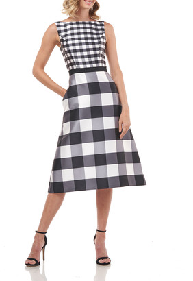 Kay Unger New York Pauline Gingham Mikado Sleeveless Midi Dress