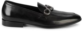 Roberto Cavalli Firenze Snake-Embellished Leather Loafers