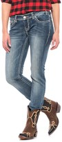 Rock & Roll Cowgirl Leather and Rhinestones Skinny Jeans - Low Rise (For Women)