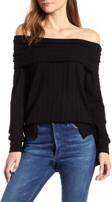 Loveappella Loveapella Ribbed Pointelle Off the Shoulder Top