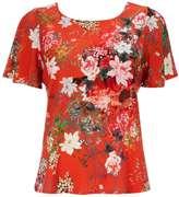 Petite Red Oriental Floral Top