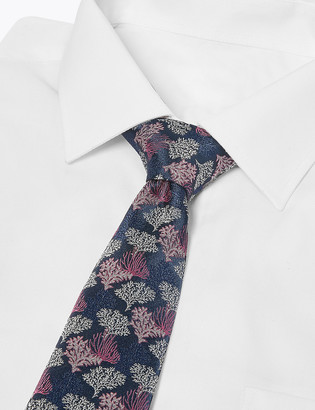 Marks and Spencer Coral Reef Woven Slim Tie