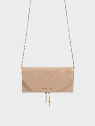 Charles & Keith Wrinkled Patent Ring Zip Flap Long Wallet