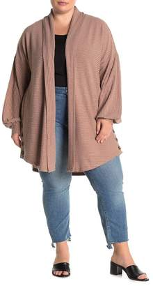 MelloDay Long Sleeve Button Side Ribbed Knit Cardigan (Plus Size)