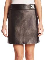 Akris Wrap Leather Mini Skirt