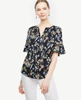 Ann Taylor Tall Wild Flower Pintucked Flutter Sleeve Top