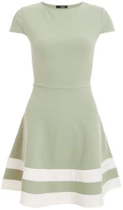 Quiz Sage Cap Sleeve Skater Dress