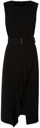Akris Punto Asymmetric Ruffle Belted Midi Dress