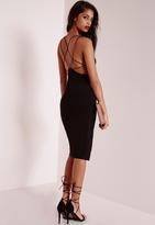 Missguided Star Back Strap Detail Midi Dress Black