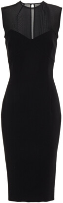 Victoria Beckham Silk Voile-paneled Stretch-crepe Midi Dress