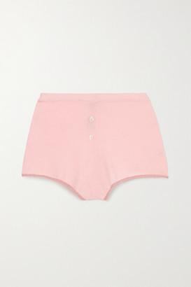 Morgan Lane Izzy Lurex-trimmed Knitted Shorts - Pastel pink