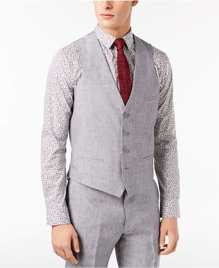 Bar III Men Slim-Fit Light Gray Chambray Linen Suit Vest