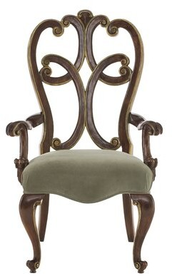 Bernhardt Villa Medici Upholstered Queen Anne Back Arm Chair in Brown