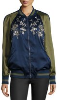 Groovy Monkey Japanese Floral Embroidered Bomber Jacket