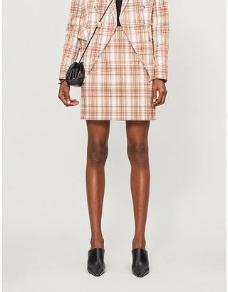 Veronica Beard Roman high-waist checked cotton-blend mini skirt