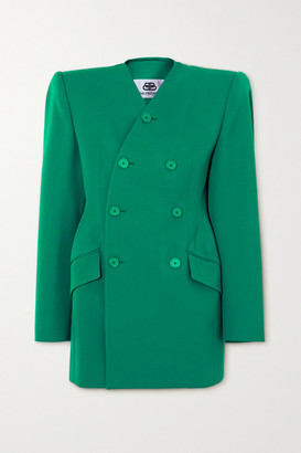 Balenciaga Double-breasted Wool-blend Blazer - Turquoise
