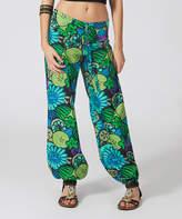 Aller Simplement Blue & Green Shell Harem Pants