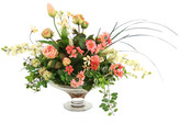 Distinctive Designs Silk Roses, DelphIniums and Tulip Buds in Glass Compote