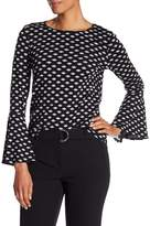Adrianna Papell Bell Sleeve Crew Neck Blouse