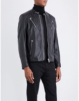 Replay Quilted-shoulders Leather Biker Jacket