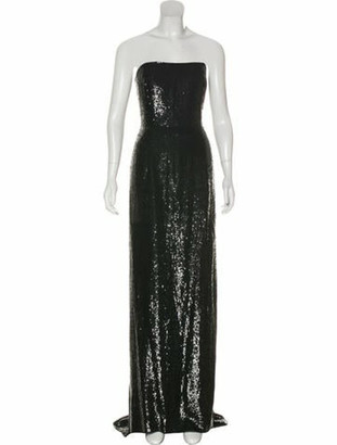 Oscar de la Renta Structured Silk Gown Black
