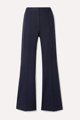 Victoria Victoria Beckham Victoria, Victoria Beckham - Pleated Jersey Flared Pants - Midnight blue