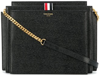 Thom Browne SQUARE LUCIDO LEATHER ACCORDION BAG