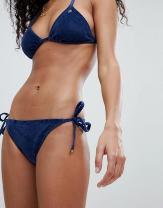 Juicy Couture Velvet Tie Side Bikini Bottoms With Logo Back-Navy