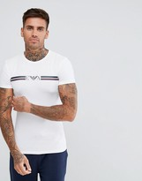 Emporio Armani Muscle Fit Chest Stripe Logo T-Shirt In White