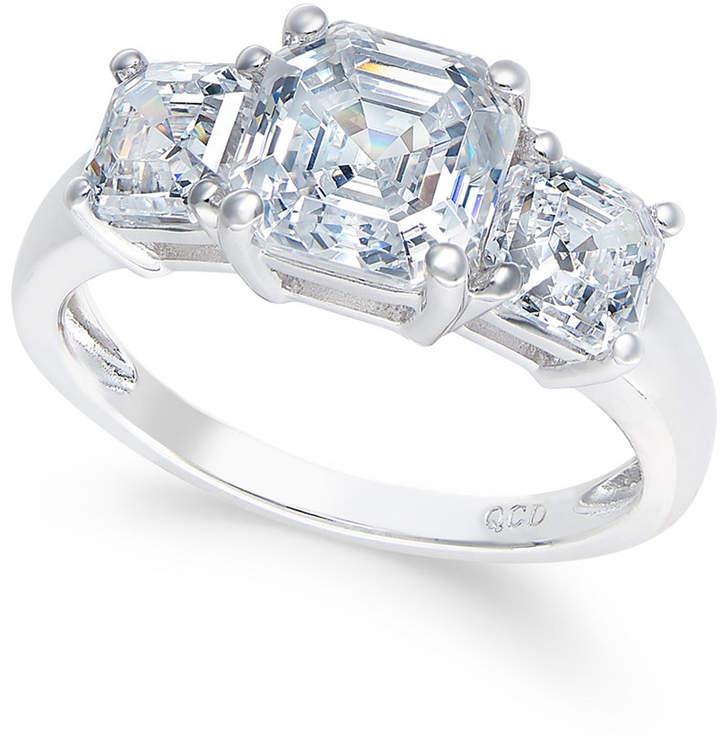 Arabella Swarovski Zirconia Three-Stone Ring in 14k White Gold