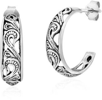 Aeravida Handmade Enchanting Swirls in a Crescent Moon Sterling Silver Half Hoop Stud Earrings