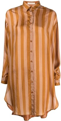 Mes Demoiselles Vertical-Stripe Long Silk Shirt