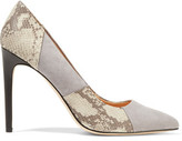 Halston Paneled Suede And Snake-Effect Leather Pumps