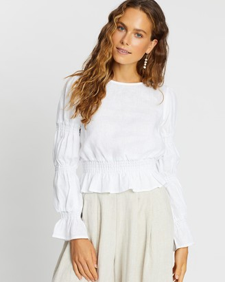 AERE - Women's White Shirts & Blouses - Shirring Detail Top - Size 6 at The Iconic