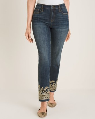 So Slimming Metallic-Embroidered Girlfriend Ankle Jeans