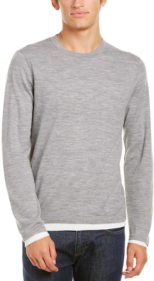 Vince Layered Crewneck Merino Wool Sweater