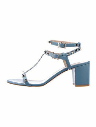 Valentino Rockstud Accents Leather T-Strap Sandals Blue