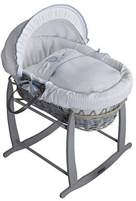 Clair De Lune Wicker Moses Basket, Pink/Grey, Over The Moon