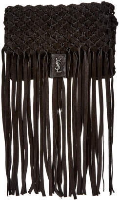 Saint Laurent Fringed Suede Clutch