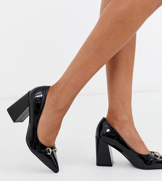 Raid Exclusive Estela mid heeled loafers in black patent